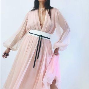 Vintage 1970's Pink chiffon handmade dress